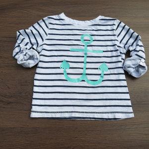 Carter's 3T Anchor Teal, Blue White Stripe Shirt